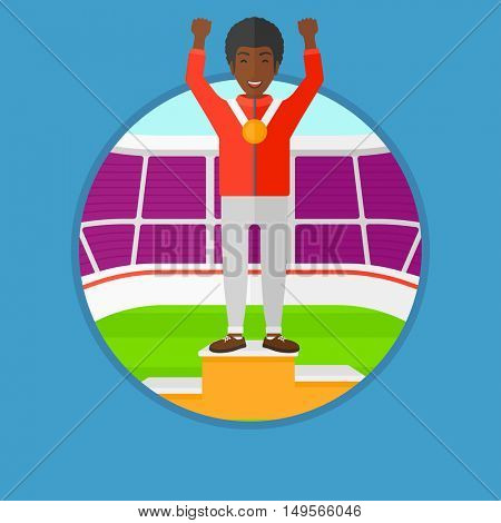 African-american sportsman celebrating on the winners podium. Man with gold medal and hands raised standing on the winners podium. Vector flat design illustration in the circle isolated on background.
