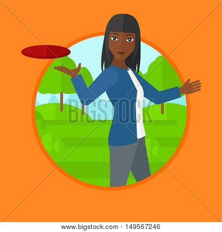 An african-american woman playing flying disc in the park. Woman throwing a flying disc. Sportswoman catching flying disc outdoors. Vector flat design illustration in the circle isolated on background