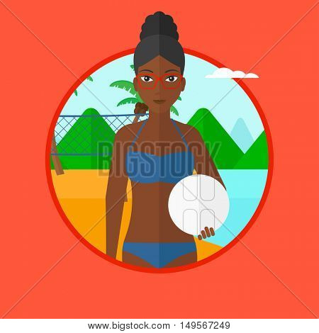 African-american sports woman holding volleyball ball in hands. Beach volleyball player standing at the shore with voleyball net. Vector flat design illustration in the circle isolated on background.