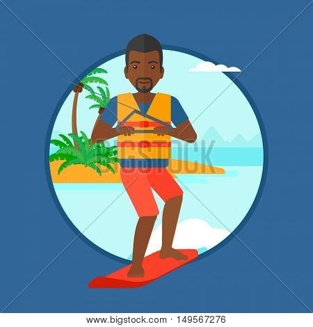 An african-american sportsman wakeboarding on the sea. Wakeboarder making tricks. Man studying wakeboarding. Man riding wakeboard. Vector flat design illustration in the circle isolated on background.