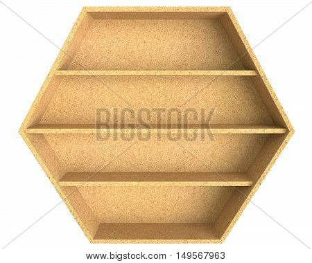 3D illustration empty 6 sided chipboard shelf isolated on white background
