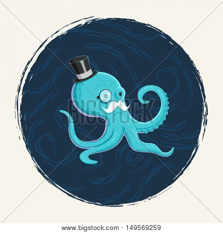 A gentleman octopus character illustration