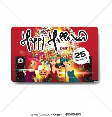 Vector helloween party invitation disco style. Night club dj women disco ball template flyers.