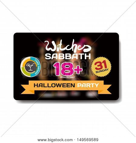 Vector private helloween party invitation disco style. Girls in the show is not in focus. Template flyers