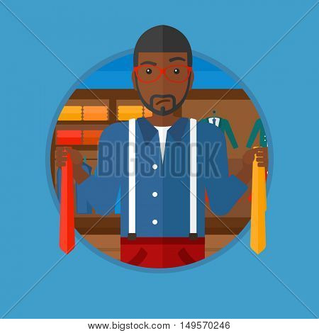 An african-american man holding two neckties and trying to choose the best one. Customer choosing necktie at clothing store. Vector flat design illustration in the circle isolated on background.