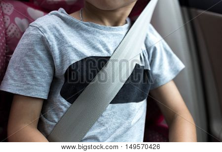 Little boy sit in the car seat with sitbelt on for safety