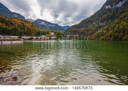 Boat garages on the shores of lake Konigssee. Berchtesgaden in Germany on the border with Austria