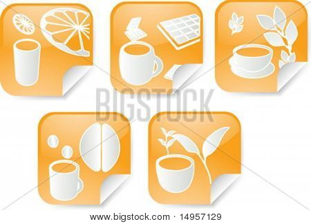 Set of various beverage icons on square sticker