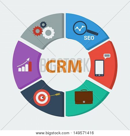 Vector infographic with colored six segments - CRM. Concept of customer relationship management