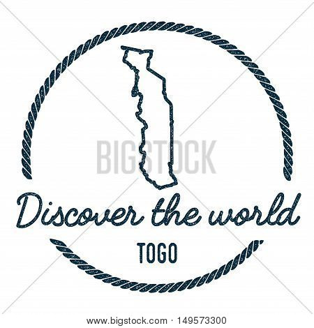 Togo Map Outline. Vintage Discover The World Rubber Stamp With Togo Map. Hipster Style Nautical Rubb
