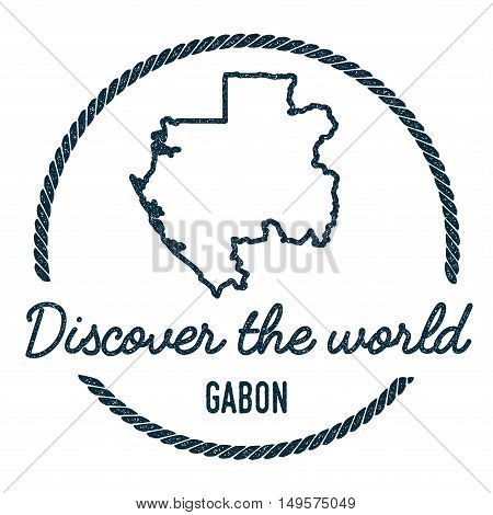 Gabon Map Outline. Vintage Discover The World Rubber Stamp With Gabon Map. Hipster Style Nautical Ru