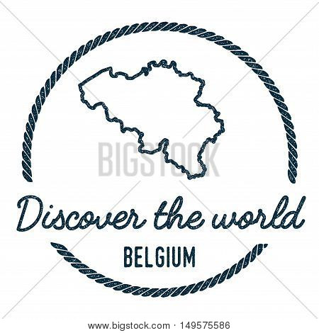 Belgium Map Outline. Vintage Discover The World Rubber Stamp With Belgium Map. Hipster Style Nautica