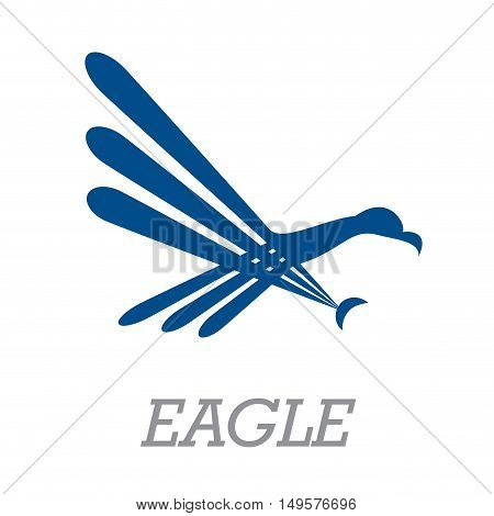 Vector sign abstract simple eagle, isolated in white