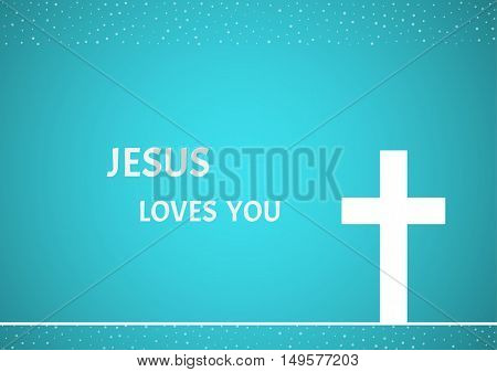 White christian cross on blue background as a symbol of Jesus Christ's crucifixion. Illustration contains text: Jesus loves you