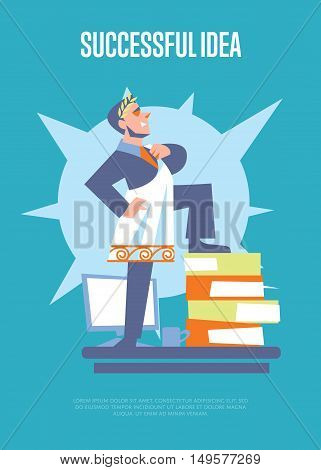 Successful idea banner with businessman in roman toga and laurel wreath standing on stack of folders, isolated vector illustration on blue background. Business growth. Big boss character. Startup idea