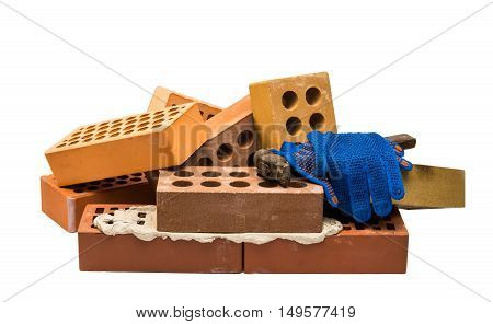 bricks with mortar on a white background