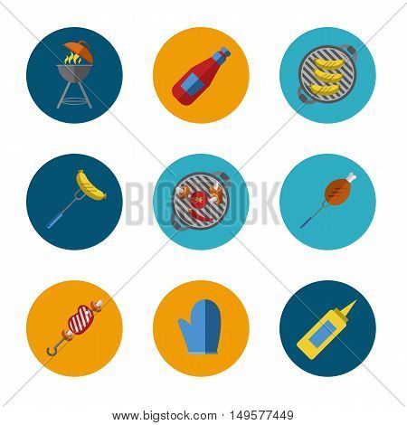 Barbecue grill round icons set, vector illustration. Charcoal kettle grill, sausages, skewers, ketchup, mustard, vegetables, steak and grill tools on color background. Design elements for grill menu. BBQ grill icons. Bbq kettle icon.