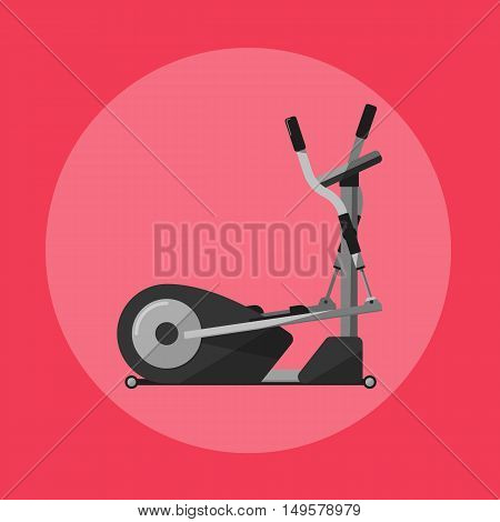 Vector illustration of gym sports equipment icon. Black elliptical cross trainer isolated on red background. Cardio training. Active sport lifestyle. Stationary exercise machine.
