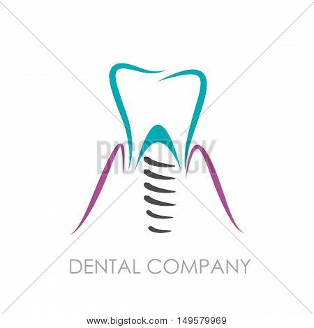 Vector sign Dental implant, isolated in white