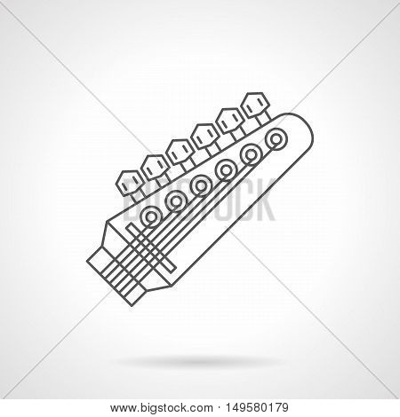 Symbol of headstock with six pegs. Guitar parts and equipment. Musical instruments store. Black flat line vector icon.