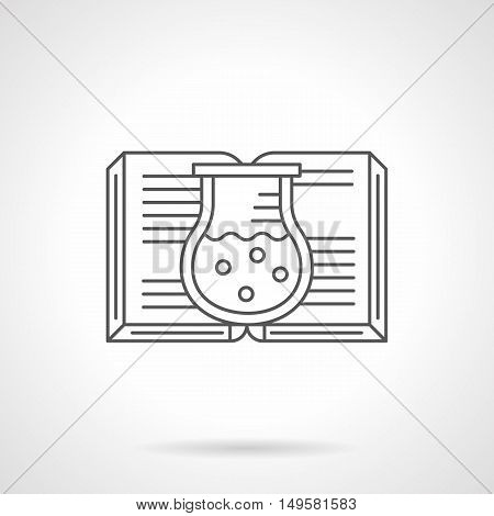 Abstract symbol of open book and flask with solution or liquid. Chemistry science literary. Knowledge and education concept. Black flat line vector icon.