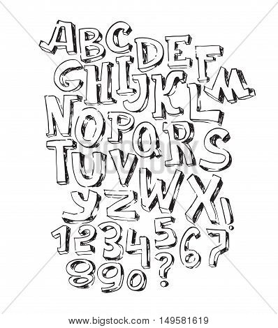 Hand drawn black font isolated on white background. Vector alphabet letters sequence from A to Z and numbers. Abc sequence good for creative lettering or educative design