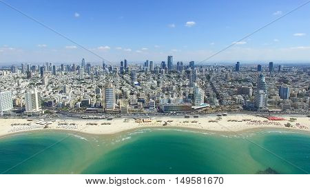 Tel Aviv skyline - Over the mediterranean sea, Aerial photo
