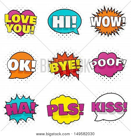 Collection of nine bright colorful stickers. Pop art speech bubbles. Comic book style. Vector, isolated, eps 10.