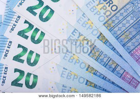 Euro money background. Twenty euro banknotes. European Union Currency