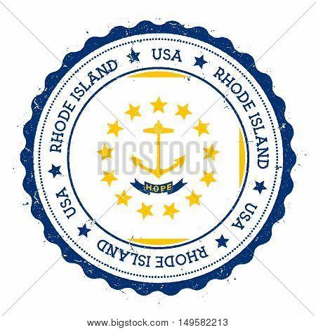 Rhode Island Flag Badge. Grunge Rubber Stamp With Rhode Island Flag. Vintage Travel Stamp With Circu