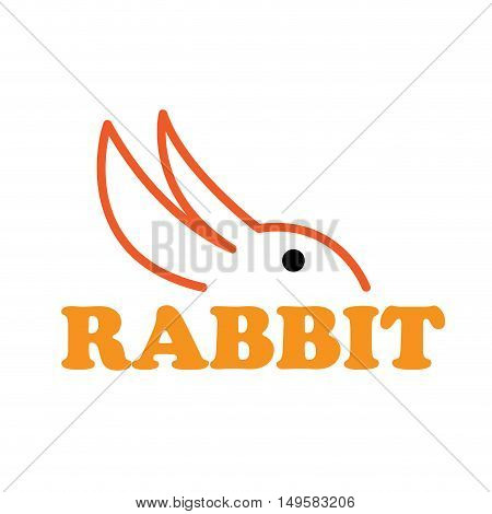 Vector sign abstract rabbit, isolated in white