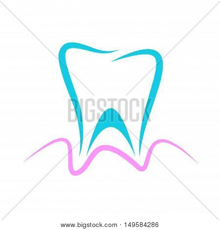 Vector sign dentist blue tooth and pink gingiva