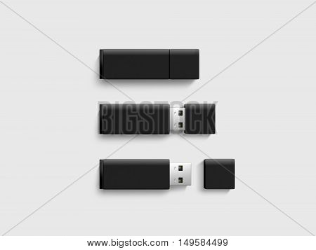 Blank back usb drive design mock up set 3d rendering clipping path. Clear plastic flash disk template opened closed. Plain memory device mockup. Clean pen drive branding presentation. Micro card.