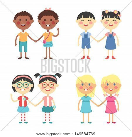 Vector cute cartoon twins brothers and sisters. Twin kids isolated small children couples. Kids posing. Kids twin children vector people isolated.