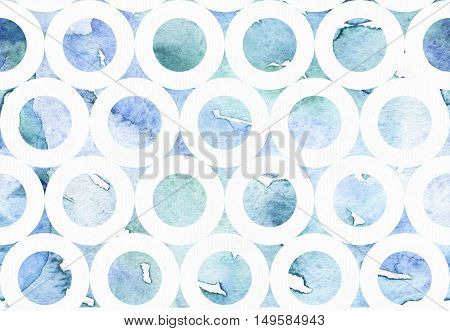 Abstract blue illustration with watercolor freehand drawing in bagel pattern. Hand drawn blue and aqua background drawn with liquid ink and brush on white watercolor textured paper. Artistic image.
