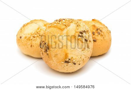 brown, snack French rolls on a white background