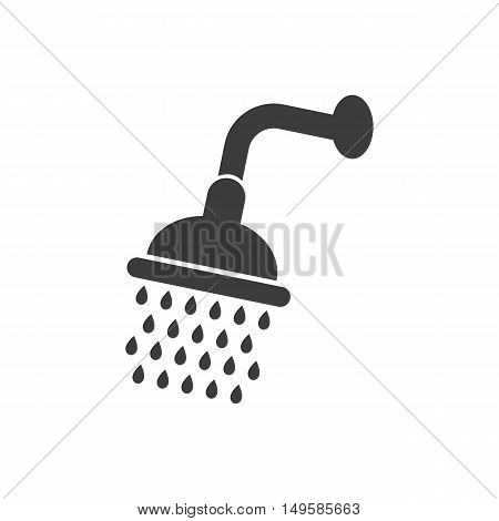 Shower Icon. Shower Vector Isolated On White Background. Flat Vector Illustration In Black. Eps 10