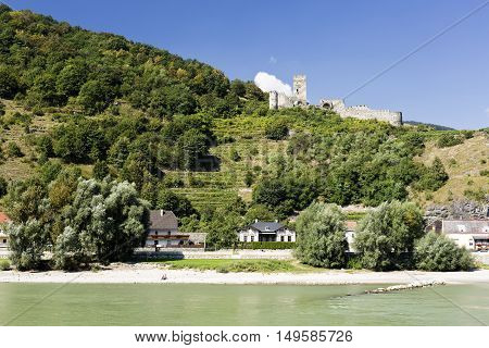 Ruin of the Hinterhaus Castle seen from the Danube River near Spitz Austria