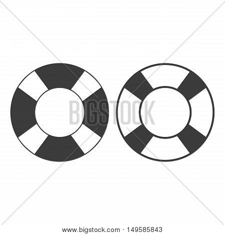 Lifebuoy icon. Lifebuoy Vector isolated on white background. Flat vector illustration in black. EPS 10