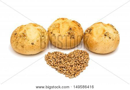 French rolls breakfast, sesame on a white background