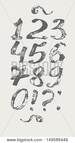 Ink digits and punctuation marks freehand stylish in raster. Illustration made with black dye isolated on white black decorated. Vector illustration perfect for presentations and education.