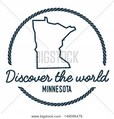 Minnesota Map Outline. Vintage Discover The World Rubber Stamp With Minnesota Map. Hipster Style Nau