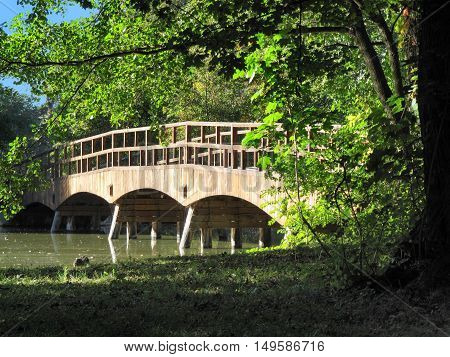 Lednice Czech Republic Bridge over the River in Lednice-Valtice Cultural Landscape Area South Moravia