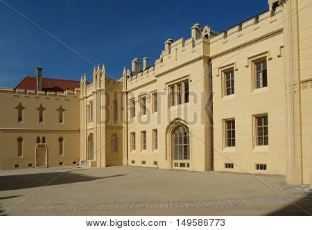 Lednice Czech Republic - September 29 2011: Chateau Lednice in Southern Moravia Czech Republic