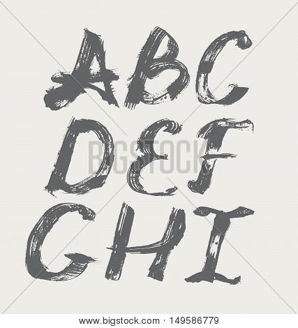 Ink alphabet A to I freehand stylish in raster. Illustration made with black dye isolated on white black decorated. Upper case. Vector illustration perfect for presentations and education.