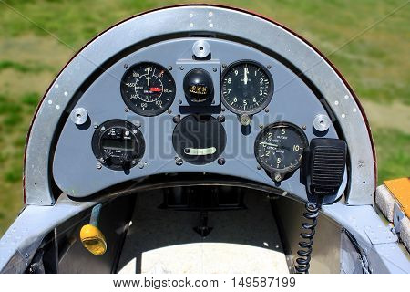 Old Hungarian glider airplane instrument panel close up with analoge instruments
