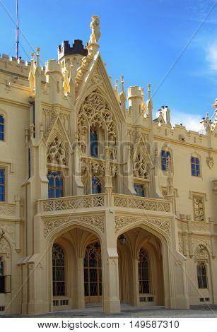 Lednice Czech Republic - September 29 2011: UNESCO World Heritage Lednice Palace in South Moravia