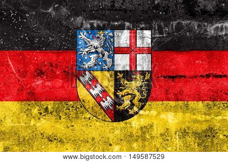 Flag Of Saarland, Germany, Painted On Dirty Wall