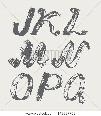 Ink alphabet J to Q freehand stylish in raster. Illustration made with black dye isolated on white black decorated. Upper case. Vector illustration perfect for presentations and education.