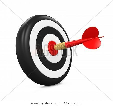 Arrow Darts and Target isolated on white background. 3D render